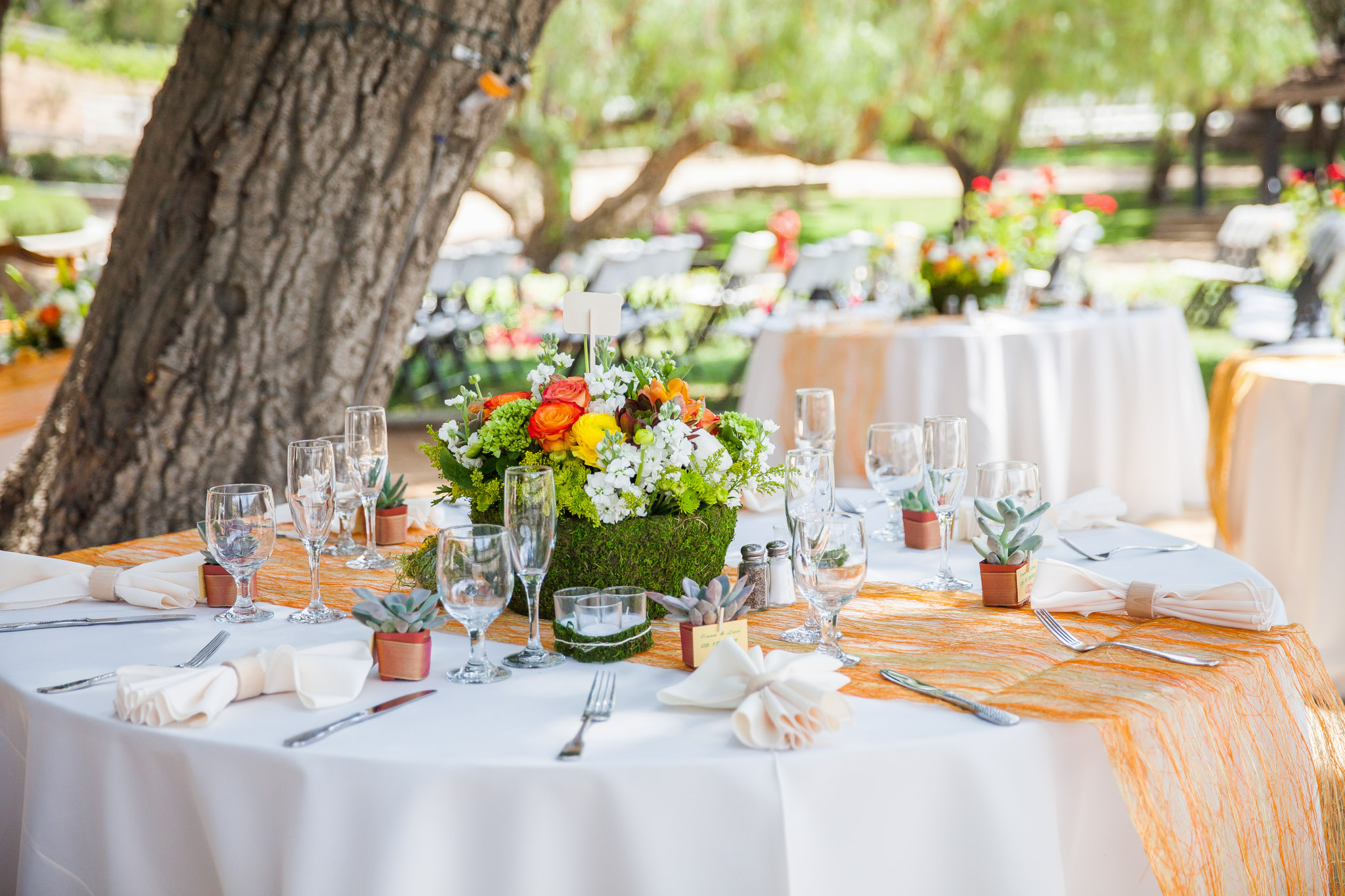 Decoration Table Ronde Mariage : ... Outdoor Wedding Centerpiece Green Orange Flowers Reception Table 28