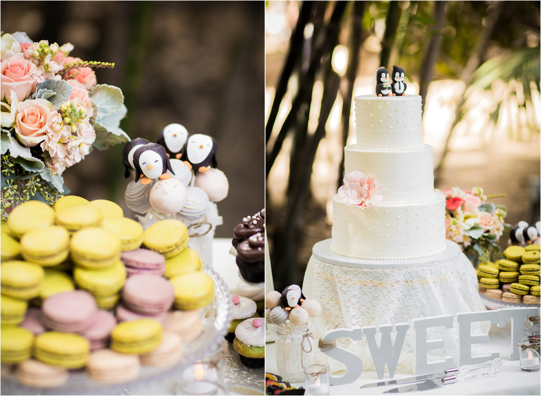 Orange County Wedding Photography Penguin Pops Cake Toppers Dessert Table 26