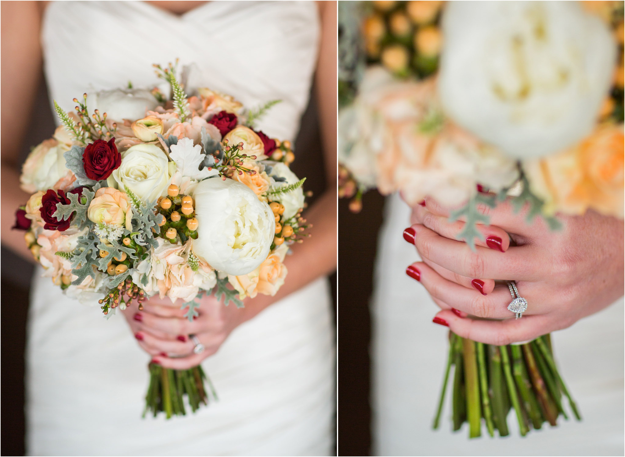 San Diego Wedding Photography Bridal Orange Red Flowers Ring Closeup