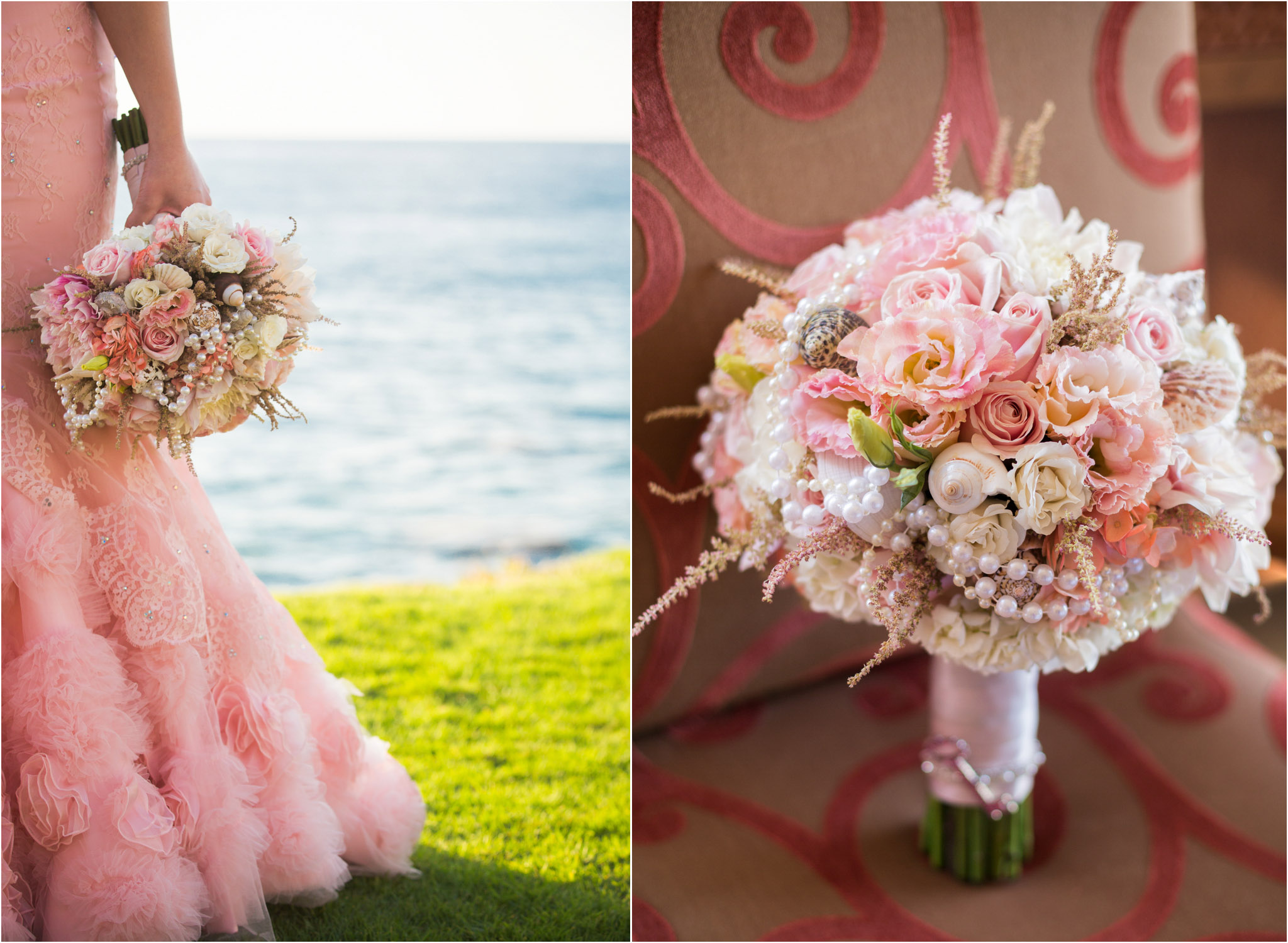 San Diego Wedding Photography La Jolla Beach Pink Wedding Dress Pink