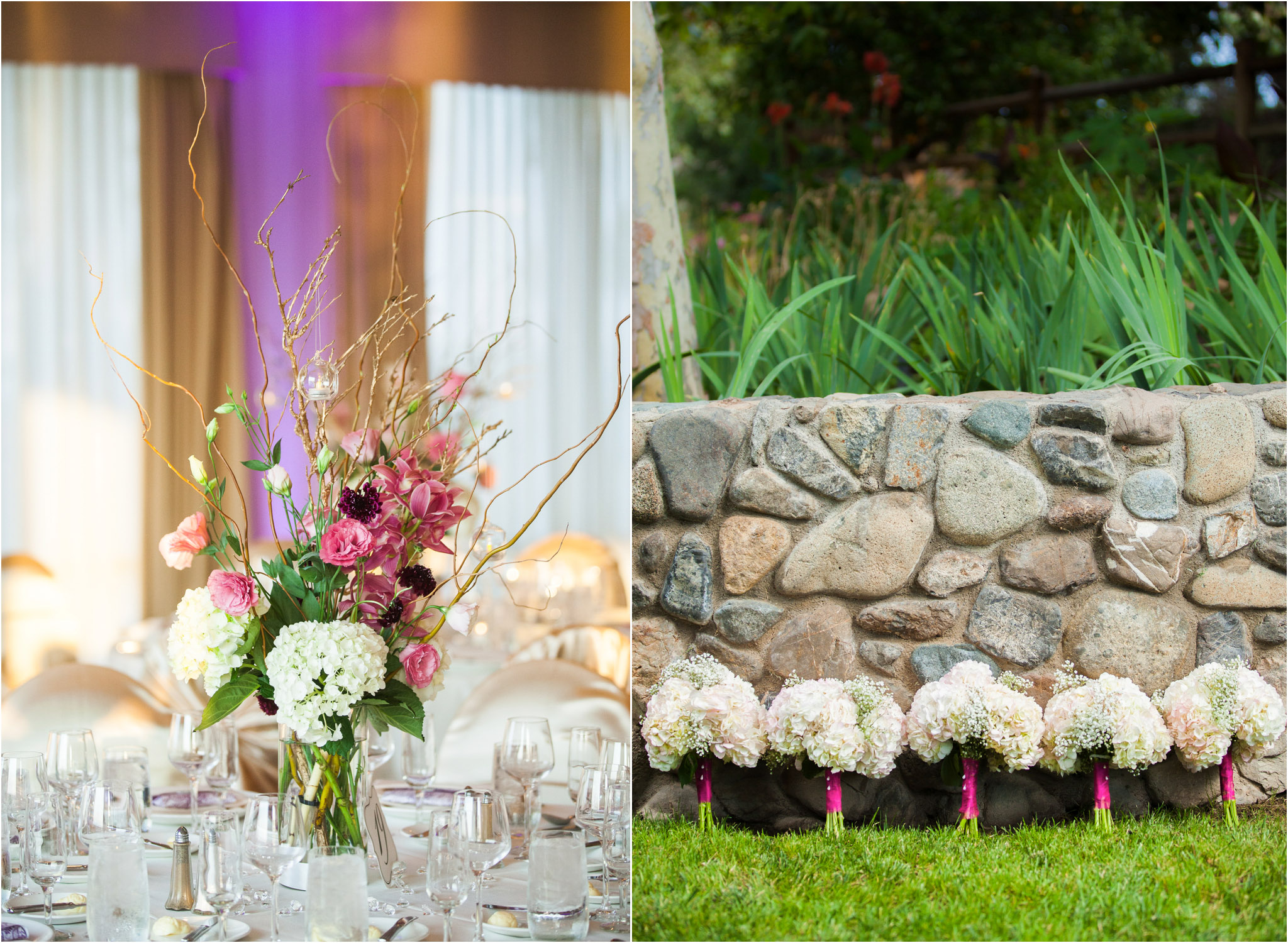 San Diego Wedding Photography Pink Flowers Center Piece Reception
